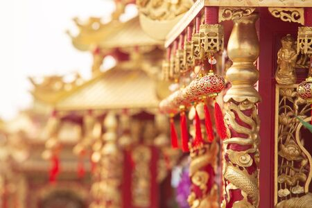 Close up corner of shrine. Vegetarian Festival also known as Nine Emperor Gods Festival concept. Selective focus and free space for text. Stockfoto