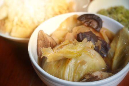 Vegetarian food: The soup stewed cabbage served with steamed rice for vegetarian. Food in Vegetarian festival or Nine emperor gods Festival concept.