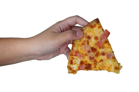 Hand holding pizza isolated on white background. This image stacked   for advertising. ideas concept.