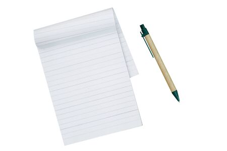 Paper notebook and pen isolated on white background. Pen made form recycle paper. This image stacked with clipping path for advertising ideas concept.