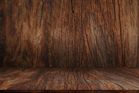 Wood table and Wooden wall ideas concept for background, Beautiful perspective of wooden room, design for environmental day ideas concept. Free space for text.