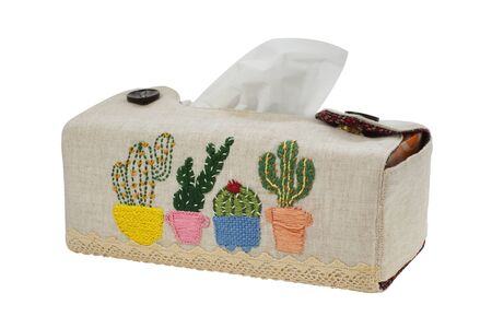 Cactus pattern on  handicraft tissue paper box. Homemade handcraft isolated on white background with clipping path and stacked, Design ideas concept.