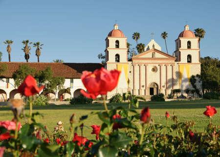 church bells: Mission Red Roses Santa Barbara Stock Photo