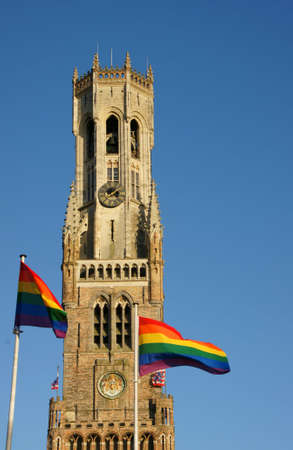 Belfry Bruges with GLBT flags Stock fotó