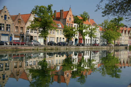 serenety: Canal Potterie in Bruges Stock Photo