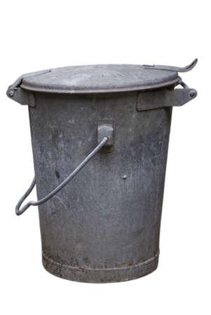 Old metal trashcan Stock Photo