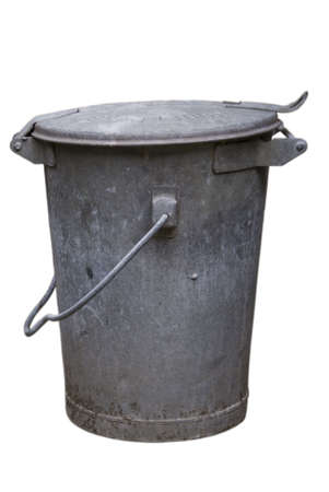 Old metal trashcan Stock Photo