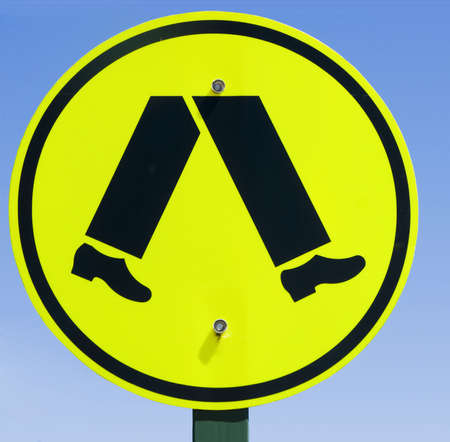 Pedestrian road sign in Melbourne Stock Photo