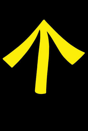 Signage: yellow arrow on black background.