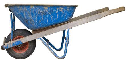 wheel barrel: Used wheel barrel,  outlined . Stock Photo