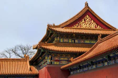 Beijing Forbidden City: corner detail. Stock Photo