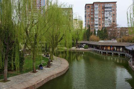 Beijing neighborhood park and pond.