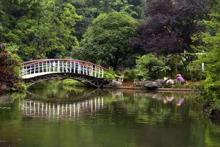 Guilin park: gardeners and bridge.