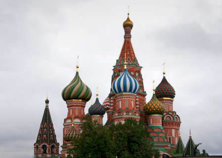 Focus on the towers of Saint Basils Cathedral in Moscow.