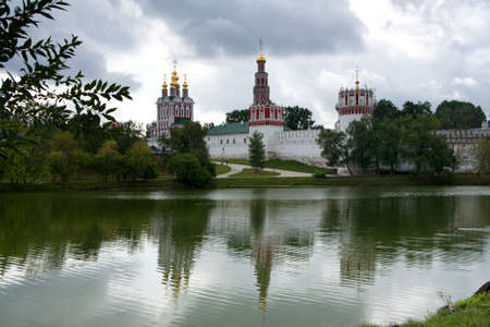 Novodevichy Convent reflects in the lake. Stock Photo