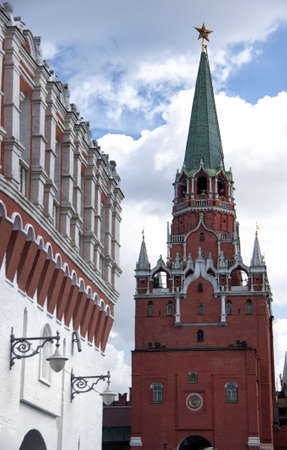 Watch tower on one side of the bridge leading to the tower over the tourist entrance of the Kremlin. Stock Photo