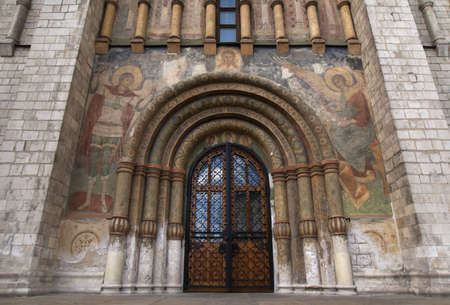 Main gate entrance into the Cathedral of the Assumption in the Kremlin. Stock Photo