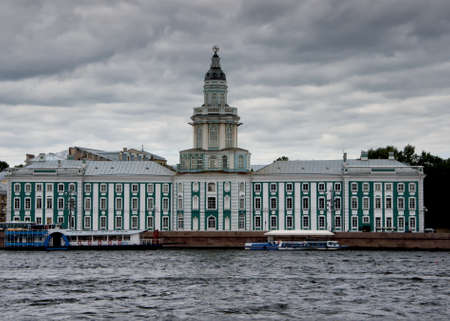 Hermitage museum as seen from the Neva river in Saint Petersburg Russia.