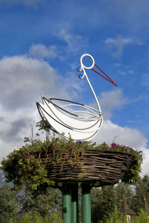Metal statue of stork in central park of Uglich Russia. Stock Photo