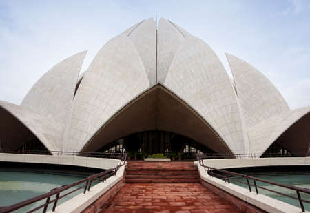 lotus temple: Lines and shapes of the lotus top on Bahai temple in New Delhi.