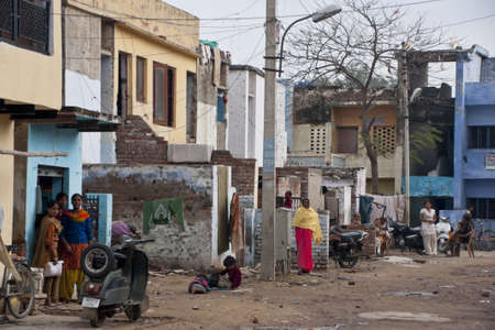 Agra in India - February 2011 - Street scene in a back alley of the city of Agra.