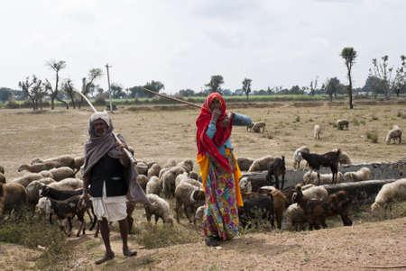 Rajasthan in India - februari 2011 - Man en vrouw herders langs de weg in de woestijn.