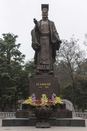 Statue of Ly Thai To, founder of country and hero  Worshiping a huge statue that celebrates the life of country Editorial
