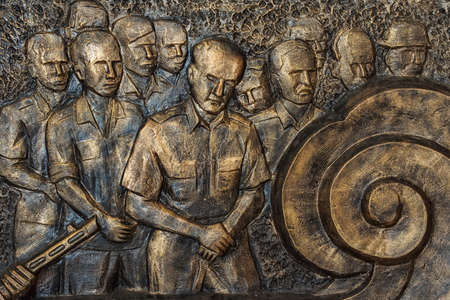 Vietnam Hanoi - March 2012: Detail of mural depicting defeated French officers after Dien Bien Phu.
