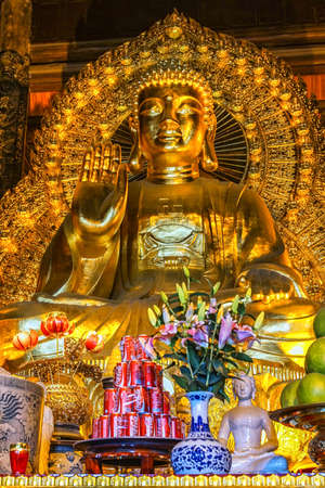 buddha image: Vietnam Chua Bai Dinh Pagoda - March 14, 2012: Giant Golden Buddha statue in temple with Coca-Cola offer in front.