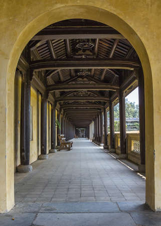 entranceway: Vietnam Hu� Citadel: long view into covered hallway with open side. Editorial