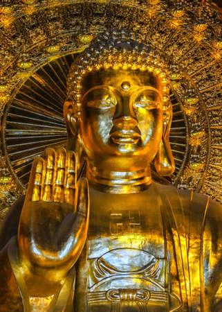 buddha image: Vietnam Chua Bai Dinh Pagoda, frontal view of Buddha face, hand and torso.