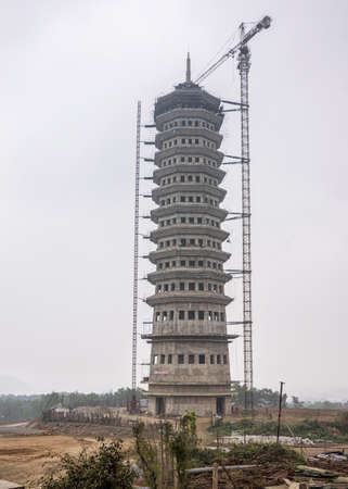 Vietnam Chua Bai Dinh Pagoda, thirteen stories high slender pagoda tower.
