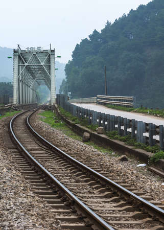 Vietnam Quang Binh Province: train bridge and tracks.