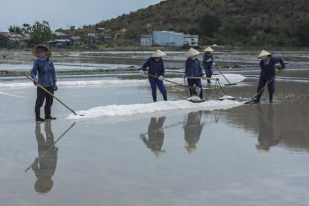 South Vietnam coastline - March 2012: A crew rakes and scoops freshly harvested salt out of the pool.