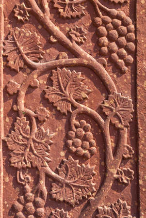 fatehpur: Mural sculpture of grape vines in red standstone at Fatehpur Sikri near India s Agra  Particularities of stone and the light create pallet of pinks plus beige