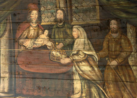 Tornio, Finland - June 2012: painting dates from the year 1687 and the cost of it was paid by the magistrate Henrik Eerikinpoika together with his wife Riitta Iisakintytär. According to the latest research Lars Gallenius from Oulu is considered to be the
