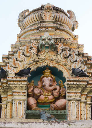 nandi: Statue of Ganesha on top of Nandi Temple in Bangalore  The statue of the god sits on top of the Dodda Basavana Gudi Temple in Bengaluru  Stock Photo