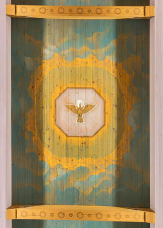 rovaniemi: Painting of symbolic Holy Ghost on the ceiling of Rovaniemi main church in Lapland  Editorial