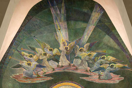 rovaniemi: Detail of altar wall painting at Rovaniemi church in Lapland  Angels blowing trumpets at judgment day  Painted by Lennart Segerstrale  Editorial