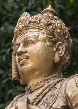 humanist: Head shot  The statue of Sri Basavanna on its pedestal stands at the edge of Cubban Park in Bangalore  Basavanna was a statesman, a philosopher, a humanist and a social reformer in 12th century India