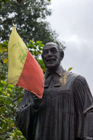 linguist: Statue of Reverend Dr  Ferdinand Kittel stands in his own little park in Bengaluru  The yellow and red flag is a symbol of Karnataka  Dr  Kittel made the first dictionary English-Kannada
