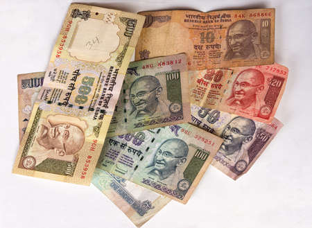 This collection of rupee notes consists of seven different notes, each with a different value and all with an image of Mahatma Gandhi  As seen in 2013