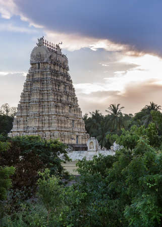 Evening storm gathers over Vellore fort and the Gopuram of Shiva temple in Tamil Nadu, India