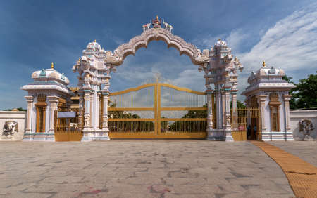The ornamental entrance gate of Sripuram, the Golden Temple in Vellore, Tamil Nadu, India
