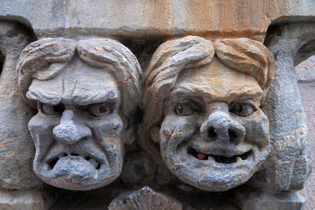 incensed: HELSINKI, FINLAND - CIRCA SEPTEMBER 2010  Fresco of angry and happy male