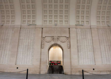 IEPER, BELGIUM - CIRCA MARCH 2014: The names of 54,896 Commonwealth soldiers, missed in action during World War I, are chiseled on the walls of the Menin Gate in Ypres.