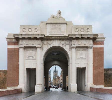 ypres: IEPER, BELGIUM - CIRCA MARCH 2014: Looking through the Menin Gate towards the belfry in Ypres, Ieper, Belgium.