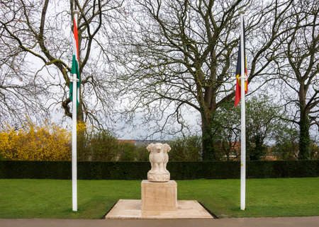 ypres: India in Flanders Fields Monument stands near the Menin Gate in Ypres, Ieper, Belgium  Stock Photo