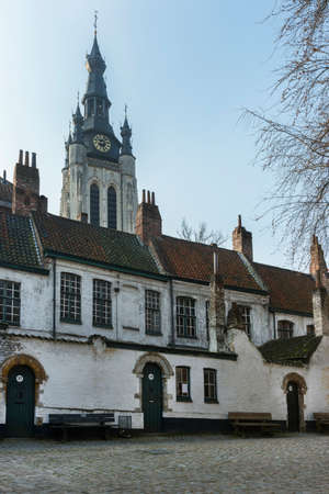 beguin: Kortrijk Beguinage and the tower of St  Martin