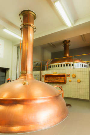 brew house: Boiling kettle and mash tun in the background  Brewery De Brabandere in Bavikhove, Belgium